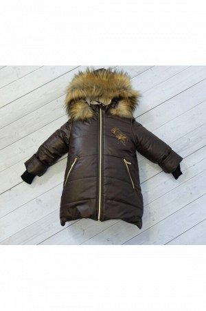 """Зимнее пальто """"лолла"""" цвет шоколад золото"""