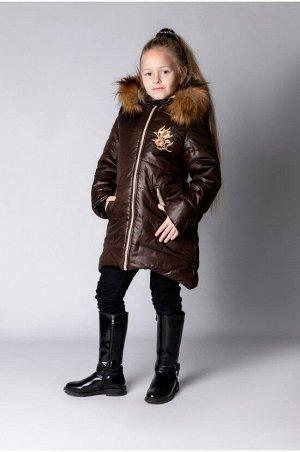 """Зимнее пальто """"лолла"""" цвет шоколад бежевый"""