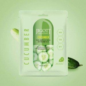 "280146 ""Jigott"" Cucumber Real Ampoule Mask Маска для лица тканевая ампульная с экстрактом огурца 27 мл"