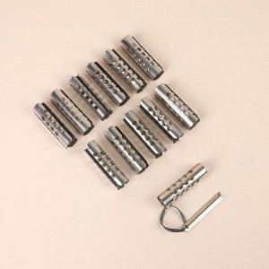 Бигуди металлические на резинке, с планкой, d = 2 см, 12 шт
