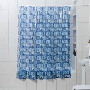 Штора для ванной комнаты Доляна «Море», 180?180 см, PVC