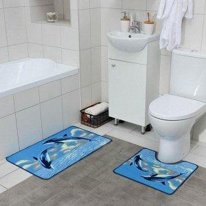 Набор ковриков для ванны и туалета «Дельфины», 2 шт? 48?78, 48?45 см
