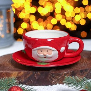 Чайная пара «Дедушка Мороз», чашка 225 мл, блюдце