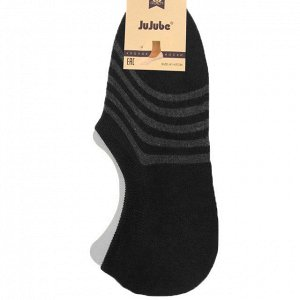 Мужские носки-подследники JuJube чёрного цвета в полосочку (ниже косточки). Размер 41-47.