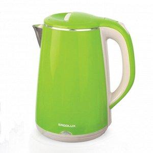 Чайник ERGOLUX ELX-KS06-C16 светло-зеленый (чайник нерж.сталь/пластик, 1.8л, 220--230В, 1500Вт)