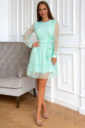 Платье Размер: 42 / 44 / 46 / 48 Изысканная и оригинальная модель платья выполнена из сетки в мелкий горох.. В данном изделии одновременно сочетается прозрачная воздушная ткань и однотонный приятный п