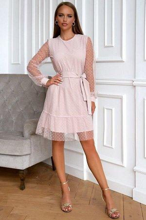 Платье Размер: 44 / 46 / 48 Изысканная и оригинальная модель платья выполнена из сетки в мелкий горох.. В данном изделии одновременно сочетается прозрачная воздушная ткань и однотонный приятный подкла
