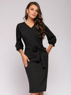 Платье-футляр черное с объемными рукавами и V-образным вырезом