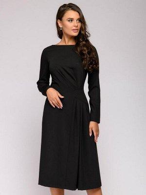 Платье черное длины миди со складками на юбке