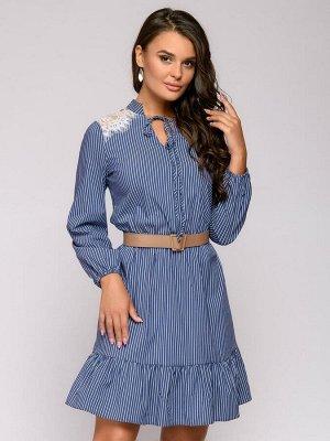 Платье в полоску с кружевной отделкой и длинными рукавами