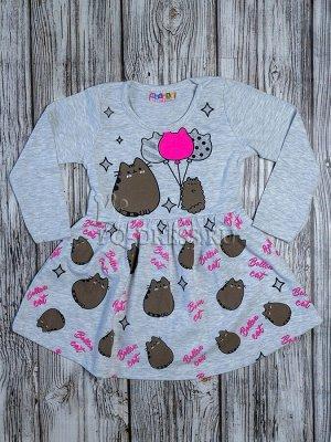 Платье Хлопковый трикотаж с лайкрой, ткань тянется. Без застежек.  Размеры:  1-2 (86-92)см  3-4 (98-104см)  5-6 (110-116см) 7-8 (122-128см)