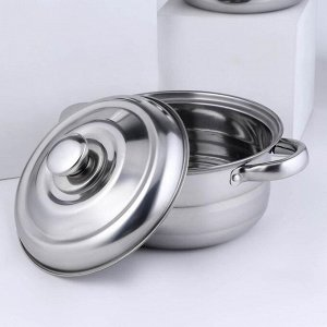 Набор посуды «Базис», 3 кастрюли 16/18/20 см, с металлическими крышками, индукция