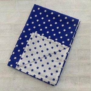 Пододеяльник полуторный комбинированный Т.синий, Звезда мал/Белый, синие  малые звезды