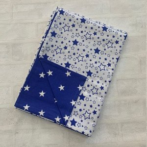 Пододеяльник полуторный комбинированный Т.синий, Звезда мал/Белый, звездопад