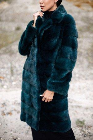 """Пальто из норки с английским воротником цвет """"изумруд"""""""