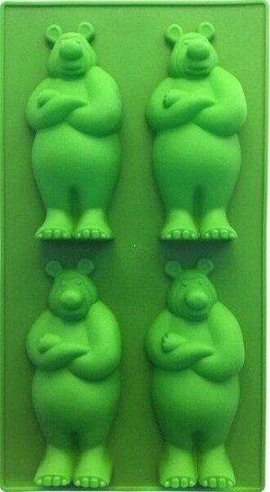 """Форма силиконовая для пряников, печенья """"Медведь"""", 4 ячейки"""