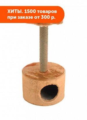 Домик-когтеточка ЧИП куб круглый с полкой (столбик джут) 38*38*71см