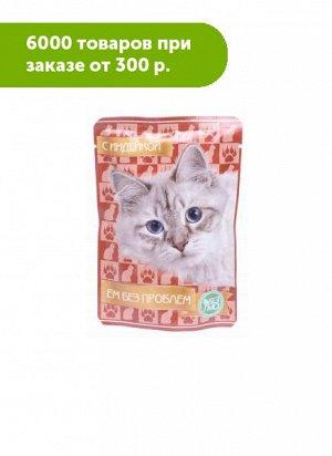 Ем без проблем влажный корм для кошек Индейка 85гр пауч