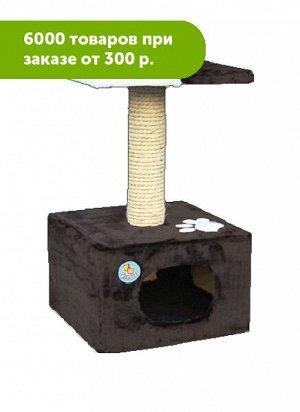Дом для кошки малый однотонный меховой с аппликацией 34*34*60см