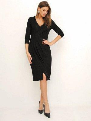 Платье Материал: 93% полиэстер,7% эластан; Цвет: черный металлик Описание Платье трикотажное приталенного силуэта, малого объема на подкладе. Конструктивная форма создана за счет рельефных швов на пер