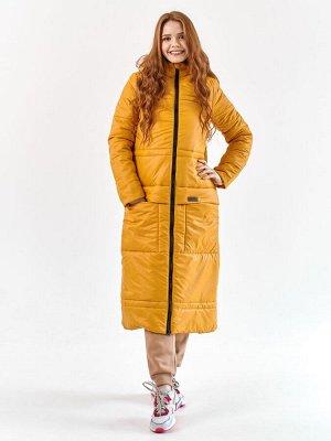 Пальто еврозима Макси горчица