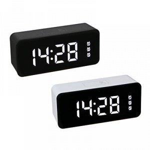LADECOR Будильник электронный с календарем, термометром, сенсорный, 3хААА, USB, 15,5х7х4,5см, 2 цв.