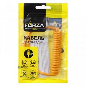 С FORZA Кабель для зарядки iP, Cпираль, 1.5А, пластик, 5 цветов