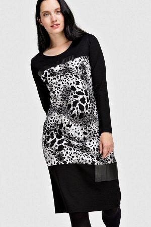 Платье Платье прямого кроя с округлым вырезом горловины. Декорировано рисунком и кожаными вставками. Состав 89% вискоза, 9% микрофибра, 2% эластан 70% вискоза, 23% нейлон, 7% эластан 100% полиэстер