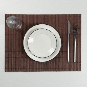 Салфетка куxонная «Гладь», 40?30 см, цвет коричневый