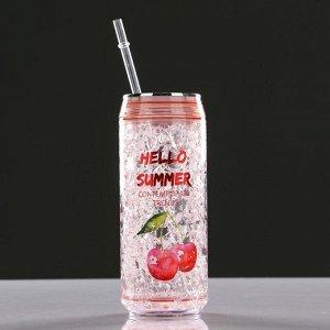 Охлаждающий стакан 300 мл Hello Summer , сохраняет холод 2 ч, 7х18.5 см, (+трубочка)  микс