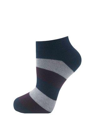 """Носки женские укороченные CINEMA """"Крупная полоска""""2-3ЛК, тёмно-синий, красный, белый"""