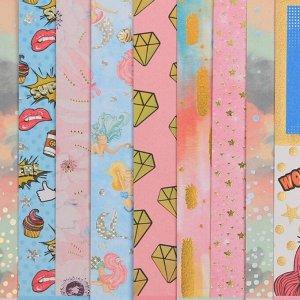 Набор бумаги для скрапбукинга с фольгированием «Будь счастлив», 10 листов  15.5 ? 15.5 см, 250 г/м