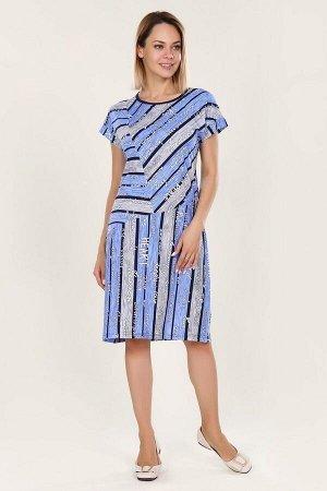 Платье с комбинированным рисунком - Саломи - 423 - серо-голубой