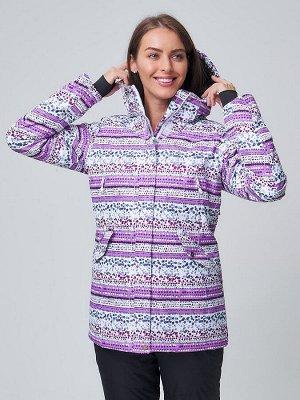 Женская зимняя горнолыжная куртка фиолетового цвета 1937F
