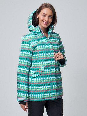 Женская зимняя горнолыжная куртка бирюзового цвета 1937Br