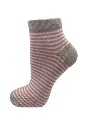 """Носки женские средней длины CINEMA арт.2ЛС """"полоски"""" светло-серый, розовый"""