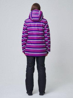 Женский зимний горнолыжный костюм  темно-фиолетового цвета 01937TF