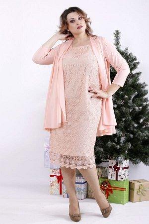 Комплект: платье и накидка 1337-3 розовый