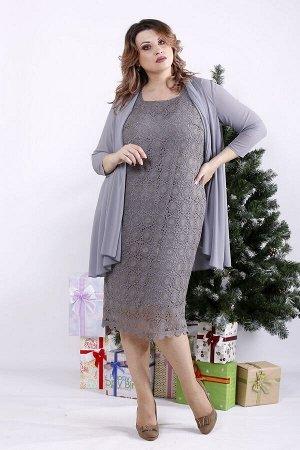 Комплект: платье и накидка 1337-1 серый