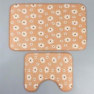Набор ковриков для ванны и туалета «Ромашки», 2 шт: 50?80, 40?50 см, цвет бежевый