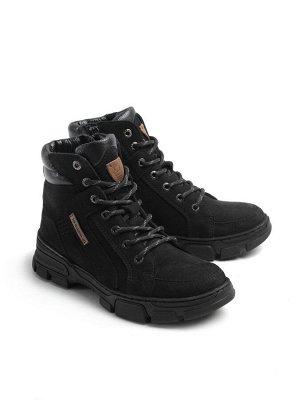 Ботинки женские зимние, черный нубук