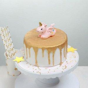Топпер для торта «Единорог» 8,7?3,5?7 см, цвет розовый 5116329