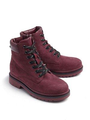 Ботинки зимние женские, бордовый нубук