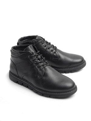 Ботинки зимние мужские, черный кожа, натуральный мех
