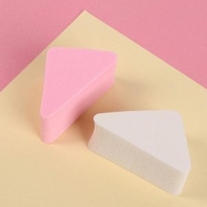 Набор спонжей для нанесения косметики, 6 ? 3,2 см, 2 шт, цвет белый/розовый