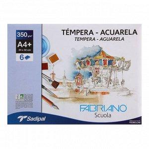Бумага для Акварели в папке 240 х 320, А4+, Fabriano Tempera-Aguarela, 6 листов, 350 г/м?