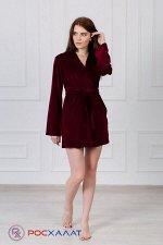 Женский укороченный велюровый халат с планкой