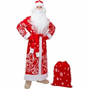 """Карнавальный костюм """"Дед Мороз"""", шуба, шапка, варежки, пояс, мешок, р-р 56-58"""