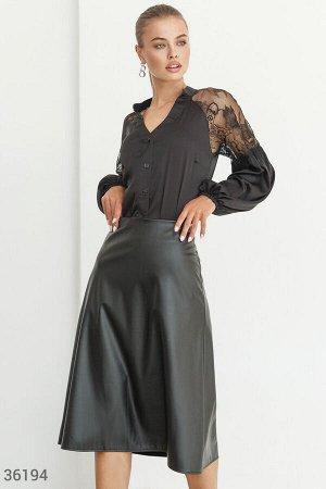 Шелковая блуза-рубашка с кружевом