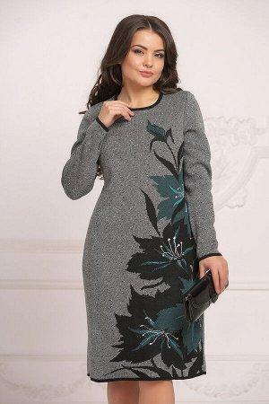 Вязаное платье 4027 К  Черно-изумрудный